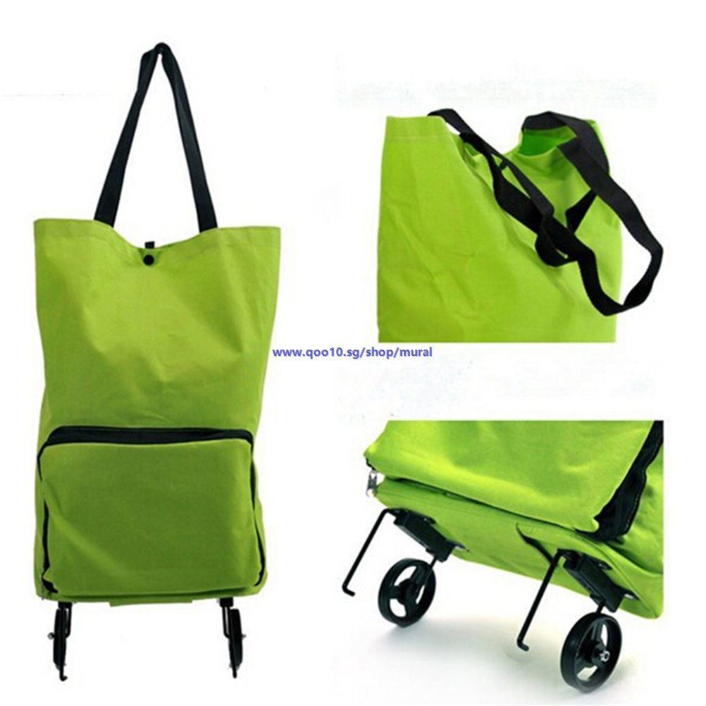 Qoo10 Folding Foldable Shopping Trolley Bag Cart Rolling Wheel Korea Iconic Layer Travel Organizer Tote Shoulder Multifungsi Show All Item Images