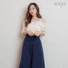 YOCO - Cold Shoulder Button Front Ruffle Hem Top-200164