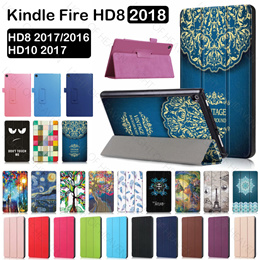 Amazon Kindle Fire HD8 2018 2017 HD10 Case Ultrathin Custer Flip Leather case Cover Stand