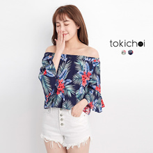 TOKICHOI - Printed Floral Off-shoulder top-170909