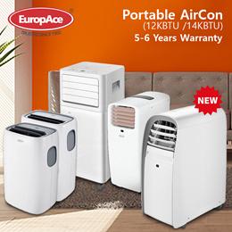 EuropAce Portable AirCon (12KBTU / 14KBTU)  EPAC 12T2 / 12T6 / 14T8 - 5 YEARS COMPRESSOR WARRANTY*