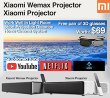 8%COUPON❤Free 3D Glasses❤ XIAOMI WEMAX TV  projector short throw 4k android from 42to 150inch