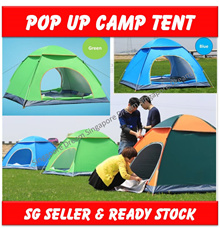 Ultra-lightweight 3-4 person Pop up Camp Tent Waterproof / Anti UV Beach Camping Tent