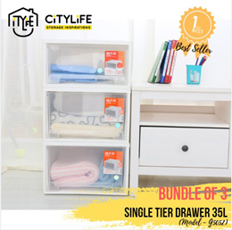 [BUNDLE of 3] Citylife Single Tier Drawer 35L * Stack-able and sturdy design !