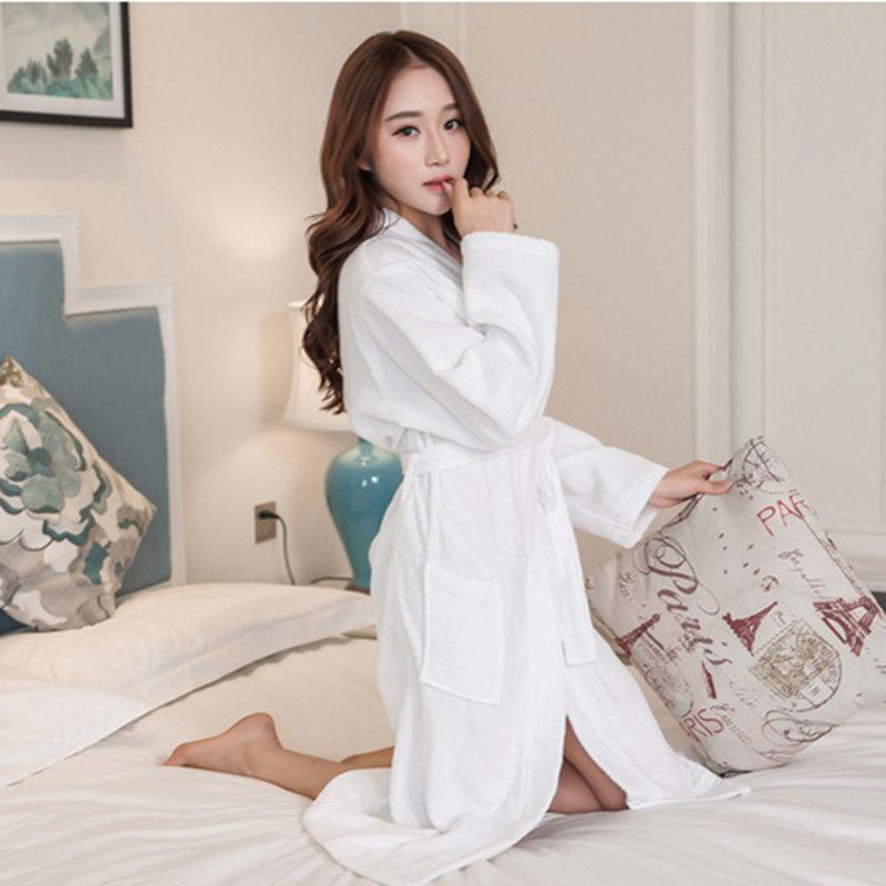 1f9d2e05e5 Spring and Autumn Terry Hotel Women Robe Sexy Soft Homewear Long Female  Bathrobe Dressing Gowns