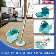 【Leifheit】Clean Twist Disc Mop Active L56793 (Green) (Suitable for wood/parquet/laminate flooring)