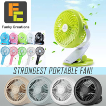 [Funky Creations]REMAX Portable Fan Lithium Battery Stroller Fan Clip On Hand Held