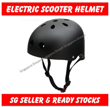 Adult Electric Scooter Helmet / Black Matt Colour  / Adjustable Harness for Head Size 56 to 60 cm