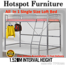 All Under One Bed ! Single Loft Bed Frame ! FAST N FREE Delivery N Installation From Mon to Sat