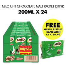 [[Nestle]] Milo UHT Chocolate Malt Packet Drink 24x200ml. FREE MILO® Biscuit Sandwich