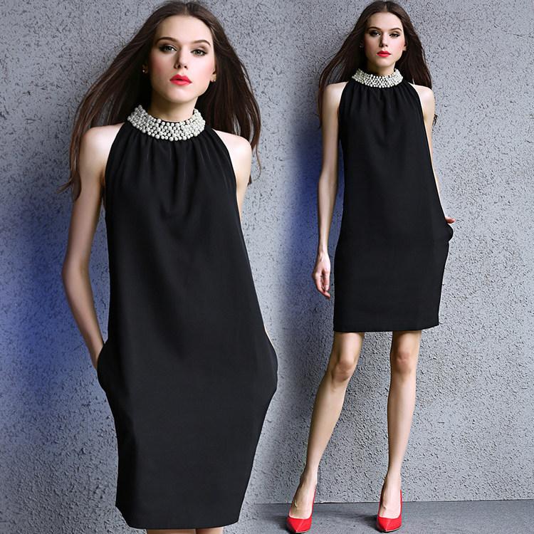 2017新品  韓国ファッション ワンピース  レディース 人気  袖なしの   ワンピース   ミディアム スカート 着痩 /流行 上質/   D7071554