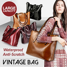 Fashion Tote Bag Vintage Oil Bag Large Capacity Shoulder Bag