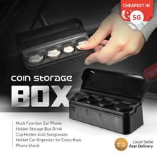 Coin Storage Box Black Car Auto Interior Plastic Holder Container Organizer Cup Sunglass Keys Phone