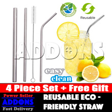 Food Grade 304 Stainless Steel Straw / 4pc Straw Set / Reusable Eco Friendly Straws