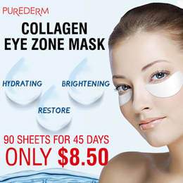 [Purederm] Collagen Eye zone mask 90 sheets! Daily pack / Special care for eye rims / 30 sheets x 3p