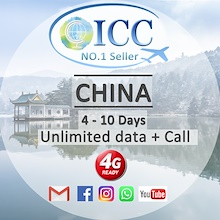 ◆ICC◆【China SIM Card 3-16 Days】4GLTE+Unlimited Data+Call ❤WhatsApp/Google/FaceBook❤ HongKong can use