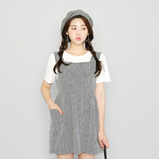 子供エムスリー白リボンチェックワンピース 綿ワンピース/ 韓国ファッション