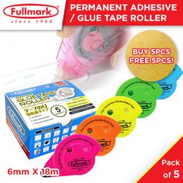[ Buy 1 box free 1 box] 5pcs x Fullmark Permanent Adhesive / Glue Tape Roller (Pink) - 6mm X 18m