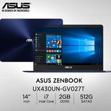 Asus: UX430UN-GV027T/14.0/Intel® Core™ i7-8550U processor 1.8 GHz /GDDR5 2GB