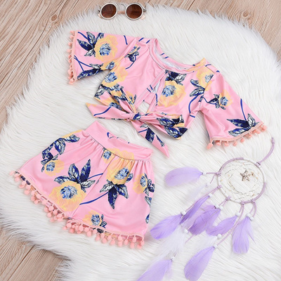 85ab89ae3c5 sale Pudcoco Toddler Girl Summer Clothing Set T-shirt Tops+Short Pants  Outfits Kids