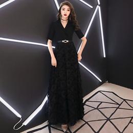 8079ba18461 Black evening dress female 2019 new banquet noble long host party high-end  temperament annual