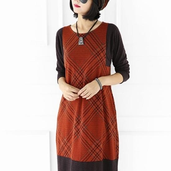ミジ、ショッピングモールチェックラインワンピース 綿ワンピース/ 韓国ファッション