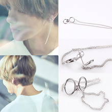 Fashion 1 Pair KPOP BTS V Earrings Bangtan Boys V Stud Doulbe Ring Chain Long Earrings Jewelry