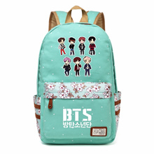 Bangtan Boys BTS Rap Monste Canvas bag Flower wave point Rucksacks backpack Girls women Student