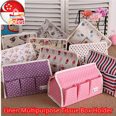 ~Linen Multipurpose Tissue Box Holder~Multiple Slot for remote control /Car Accessories/Space Saving