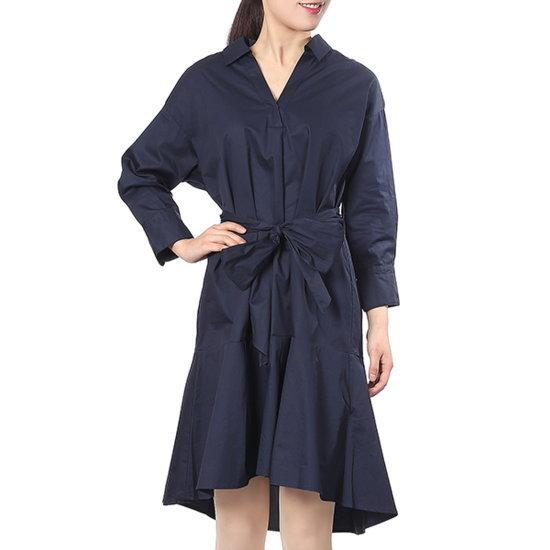 ラブLAPの裾フレアシャツ型コットン・ワンピースAH2WO364 面ワンピース/ 韓国ファッション