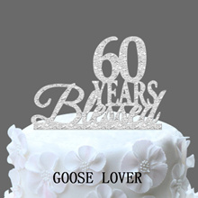 60th Birthday/Anniversary Cake Topper Personalized 60 Years Blessed Cake Topper  Custom Year Cake To