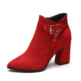 2019 Autumn Winter Fashion Women Buckle Ankle Boots Casual Faux Suede Pointed Toe Thick High Heels P