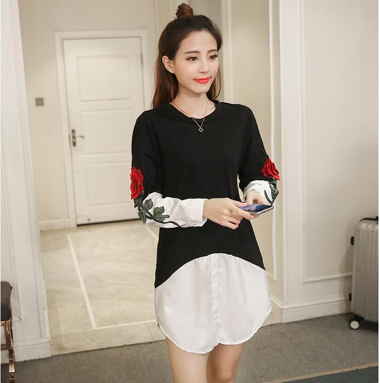 2017新品  春  韓国ファッション 人気  刺繍 花柄   長袖  Tシャツ  レディース     パーカー   上質 個性 WD301