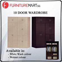 [Wardrobe Sales]10 DOOR WARDROBE (Walnut/White Wash)