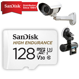 SanDisk High Endurance Video Monitoring microSD  128GB Cards 4K for CCTV and Car Camera