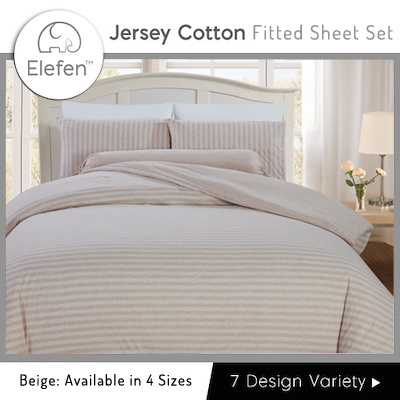 Elefen Jersey Cotton Series   Thin Stripes Fitted Sheets (Beige)