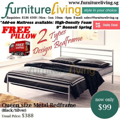 38767f0e9044 Furniture Living SG - New Queen size Metal Bedframe in Black/Silver colour  + 6inch