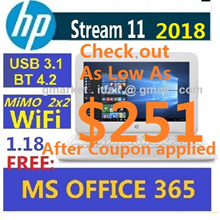 Use $50 Coupon here! 2017 HP Stream 11  Win10 FREE MS Office  SSD 8 Sec Bootup 8.25 Hrs Batt 1.17k