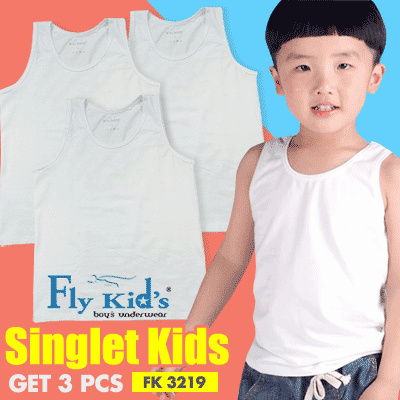 FlyKids NEW ITEM GET 3 PCS FlyKids Singlet Anak Laki | Pakaian Dalam Anak Laki FK 3219 Deals for only Rp117.900 instead of Rp117.900