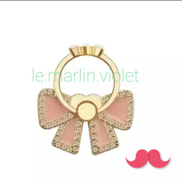[SG SELLER] ★Suit All Phone Covers!★ Bling Peach Ribbon Phone Ring Stand Phone Holder