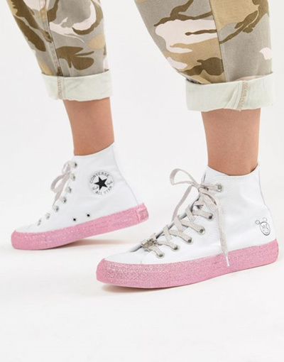 1e1d63ab746f95 Converse X Miley Cyrus Chuck Taylor All Star Hi Sneakers In White And  Silver Glitter