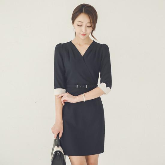 オッドDRI375ブイラップベルト7部シャーリングワンピース スーツワンピース/ 韓国ファッション