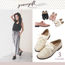 Gracegift-Classic Ribbon Tie Brogue Oxfords/Women/Ladies/Girls Shoes/Taiwan Fashion