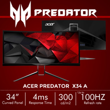 [Special Promo] Predator X34 A - 34 Inch Ultrawide QHD Curved Gaming Monitor with G-Sync + Swivel