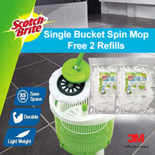 [Official E Store] 3M Scotch Brite™ Single Bucket Spin Mop with 2pcs Free Refill
