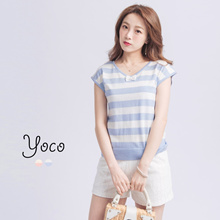 YOCO - Striped Top with Bow-170647