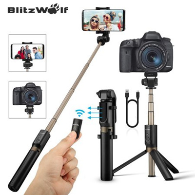 BlitzWolf 3in1 Extendable Selfie Stick + Handheld Tripod Monopod+ Remote  Control Shutter, Universal