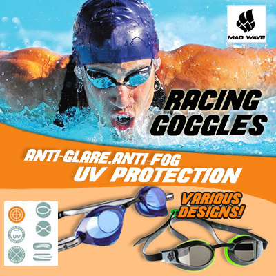 cf1ac079b6cf MadWave Racing Swimming Goggle Anti Fog UV Protection Competition Goggles  Mirror Coated