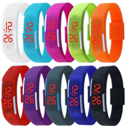Red LED Wristband Watch Fashion Sport LED Watches Candy Color Silicone Watch