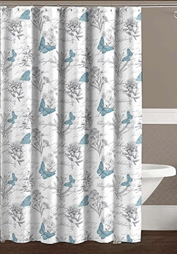 Teal Aqua Grey White Fabric Shower Curtain Elegant Flower Butterfly Wildlife Toile Design